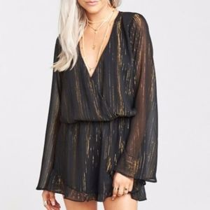 Show Me Your MuMu Gold Loretta Romper Sparkle